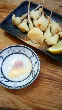 初、島らっきょうの天ぷら